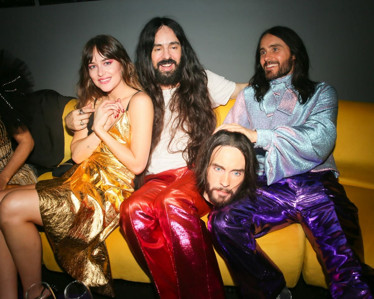 Dakota Johnson, Alessandro Michele and Jared Leto - Gucci hosts at the Met Camp Gala 2019 / New York. Courtesy of Gucci