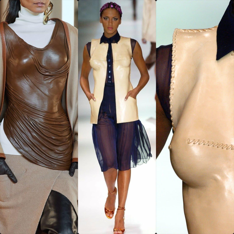 Balmain Fall Winter 2020 -2021 vs Jean Paul Gaultier Spring Summer 2003 Haute Couture - leather corset