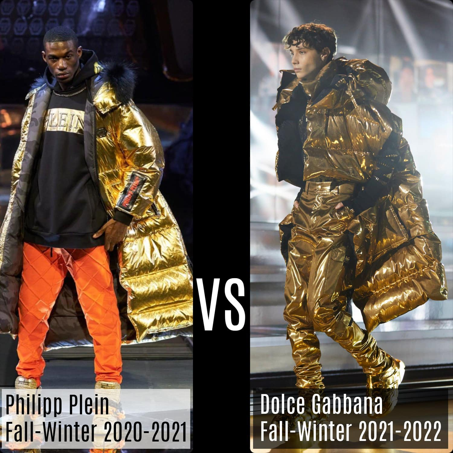 Philipp Plein Fall-Winter 2020-2021 vs Dolce Gabbana Fall-Winter 2021-2022