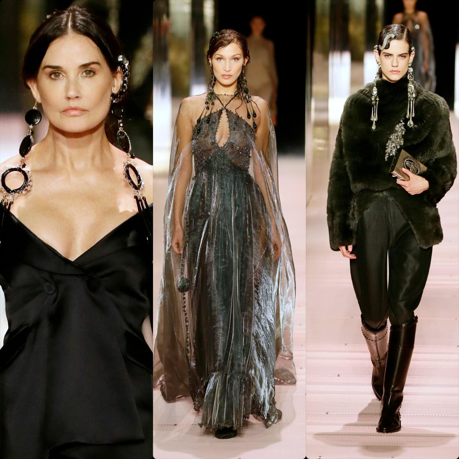 Demi Moore, Bella Hadid for Fendi Haute Couture Spring Summer 2021. RUNWAY MAGAZINE ® Collections. RUNWAY NOW / RUNWAY NEW